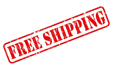 Free shipping red stamp text on white
