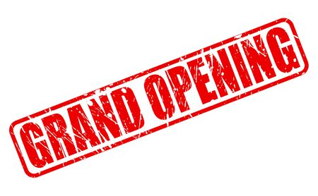 advertised: Grand opening red stamp text on white Stock Photo