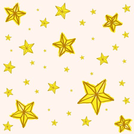 yellow star: Hand drawn yellow star doodle background