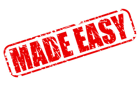 Made easy red stamp text on white Stock Photo