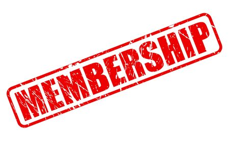 Membership red stamp text on white photo