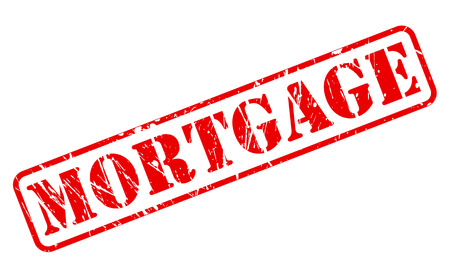 Mortgage red stamp text on white photo