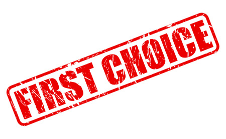 First choice red stamp text on white