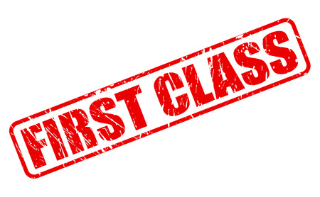 first in class: First class red stamp text on white