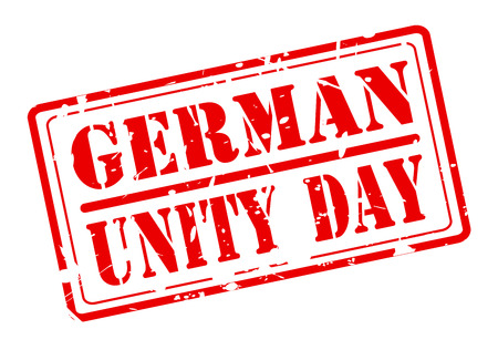 oktober: GERMAN UNITY DAY red stamp text on white