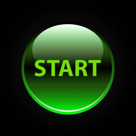 start button: Green glossy start button on black background