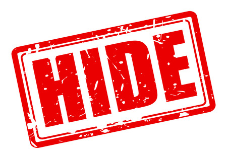hide: Hide red stamp text on white
