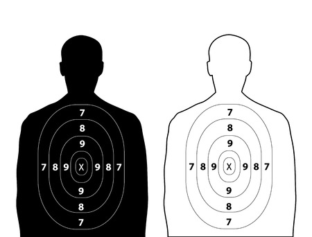 Human gun target on white background