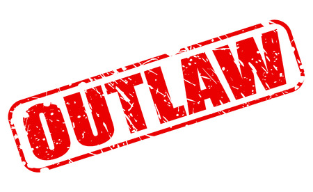 Outlaw red stamp text on white photo