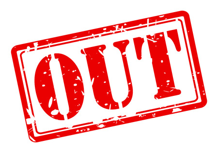 kicked out: OUT red stamp text on white background Stock Photo