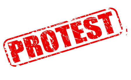 outcry: Protest red stamp text on white Stock Photo