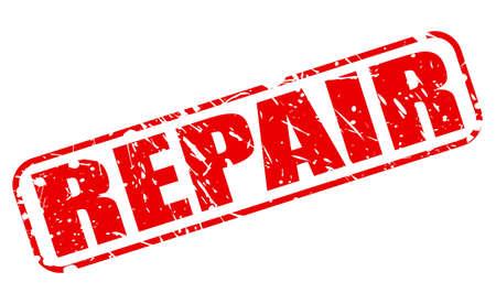 retrieval: Repair red stamp text on white Stock Photo