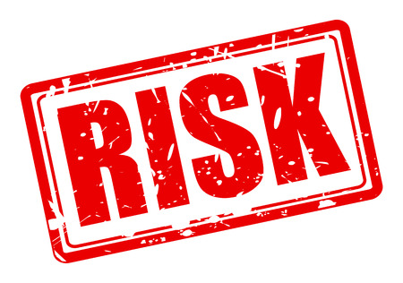 carefulness: Risk red stamp text on white Stock Photo