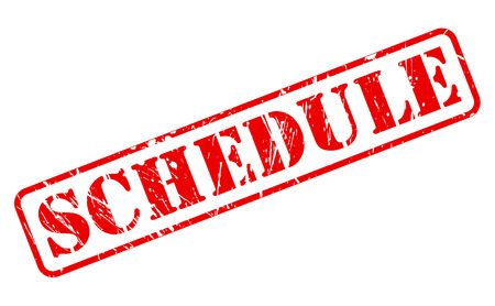 rubberstamp: Schedule red stamp text on white