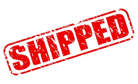 shipped: Shipped red stamp text on white Stock Photo