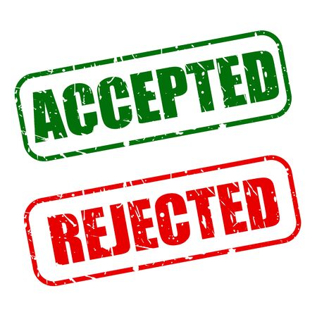 acceptation: Accepted with red and rejected with green text on white background