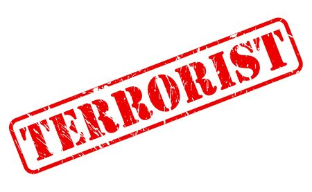 terrorist: Terrorist red stamp text on white Stock Photo