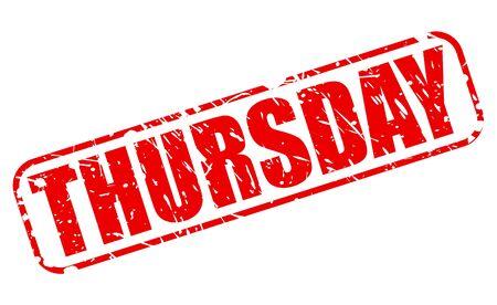 thursday: Thursday red stamp text on white
