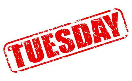weekday: Tuesday red stamp text on white Stock Photo