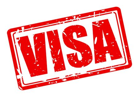 VISA red stamp text on white photo