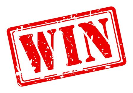 win win: Win red stamp text on white