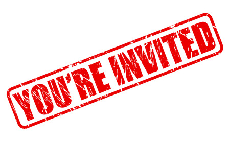 you are invited: You are invited red stamp text on white