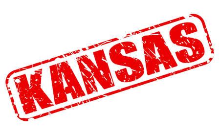 Kansas red stamp text on white photo