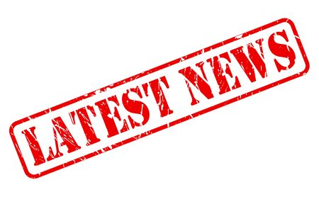 Latest news red stamp text on white Stock Photo