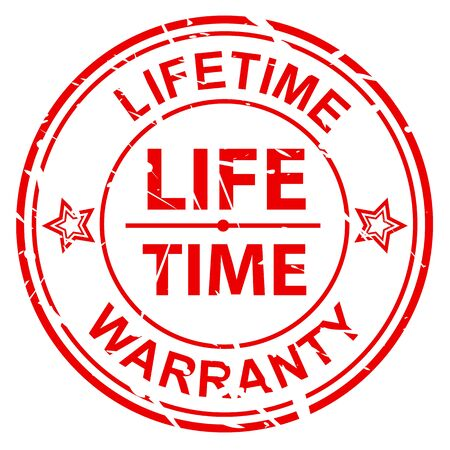 lifetime: LIFETIME WARRANTY on grunge red stamp on white