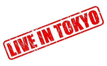 transmitted: Live in tokyo red stamp text on white