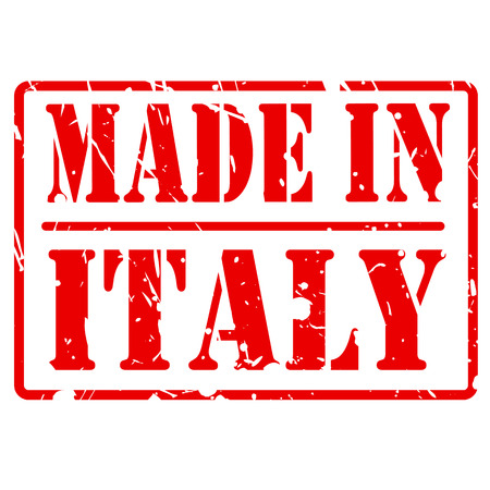 made in italy: Made in italy red stamp text on white