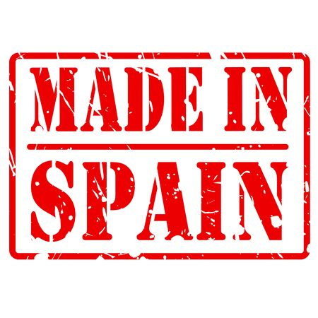 made in spain: Made in spain red stamp text on white