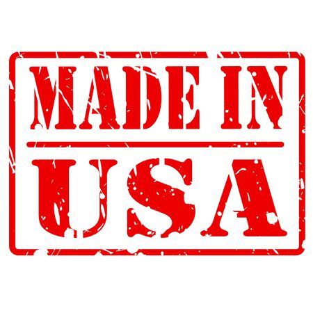 manufactured: MADE IN USA red stamp text on white