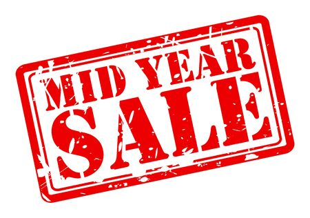 MID YEAR SALE red stamp text on white Imagens