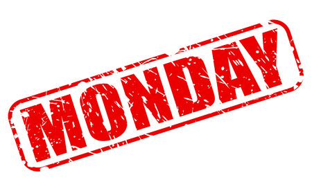 weekday: Monday red stamp text on white Stock Photo