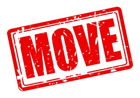 onwards: Move red stamp text on white Stock Photo