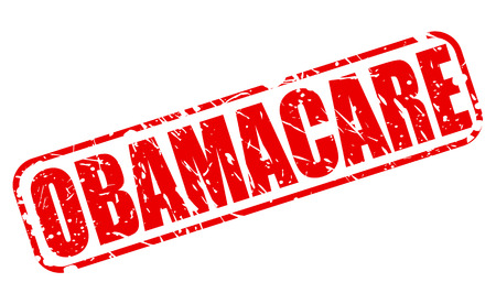 obama care: OBAMACARE red stamp text on white