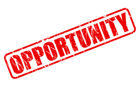 Opportunity red stamp text on white photo