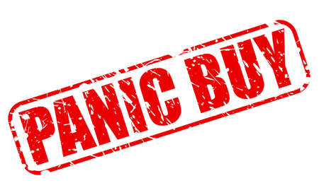 stockpile: Panic buy red stamp text on white Stock Photo