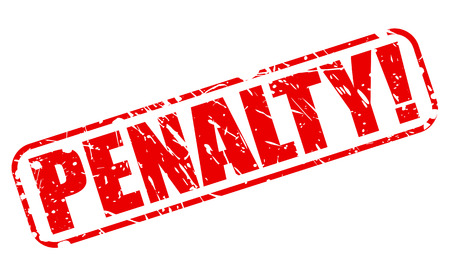 penalty: Penalty red stamp text on white
