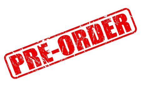 Pre-order red stamp text on white