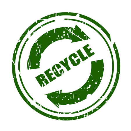 Green grunge recycle sign with text stamp on white background photo