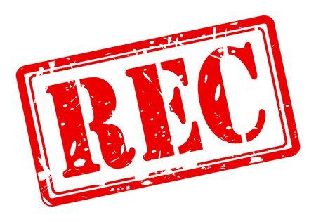 rec: REC testo timbro rosso su bianco Archivio Fotografico