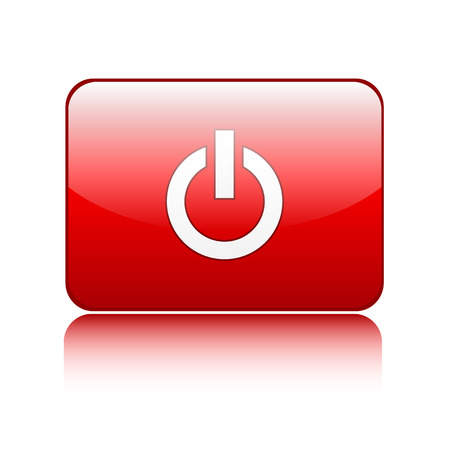 running off: Red power glossy button sign on white