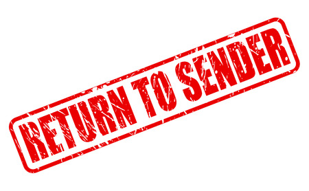 payee: Return to sender red stamp text on white
