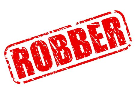 Robber red stamp text on white photo