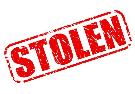 snatched: Stolen red stamp text on white Stock Photo