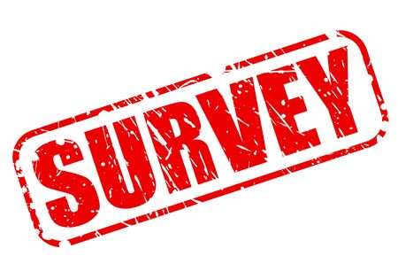 feedback link: Survey red stamp text on white