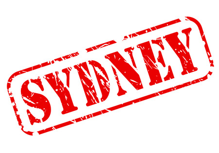 SYDNEY red stamp text on white photo