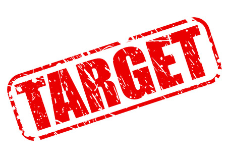 targetting: Target red stamp text on white Stock Photo